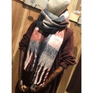 Bufanda cuadros gris/burdeos/rosa