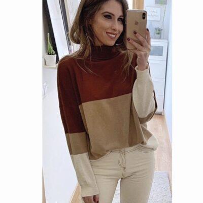 Jersey para mujer con cuello cisne y estampado de franjas marrón beige y blanco