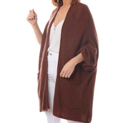 Cardigan marrón con bolsillos