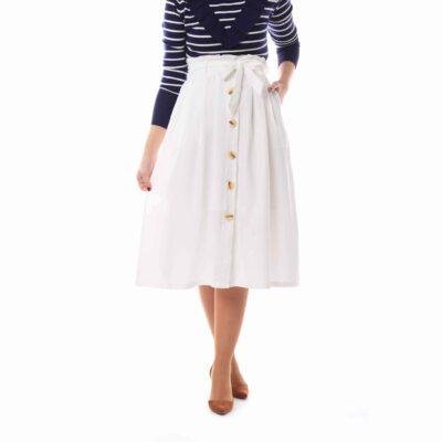 Falda midi blanca con lazada y botonadura