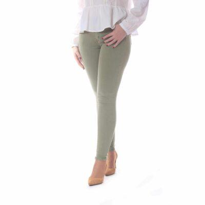 Pantalón de mujer super skinny verde