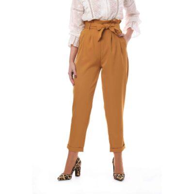 Pantalón para mujer color mostaza de talle alto y lazada en la cintura