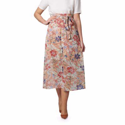 Falda de gasa con estampado de flores