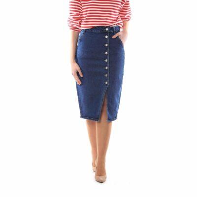 Falda midi vaquera con botonadura lateral