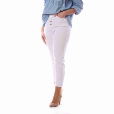 Pantalón de mujer blanco estilo mom fit