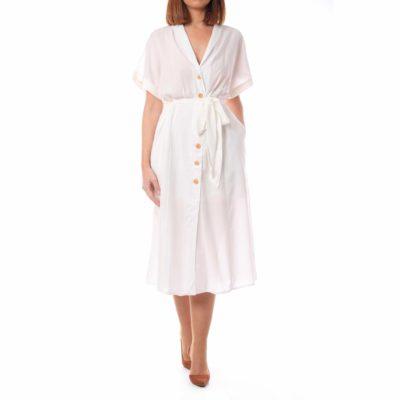 Vestido blanco con efecto raya , botonadura y lazada