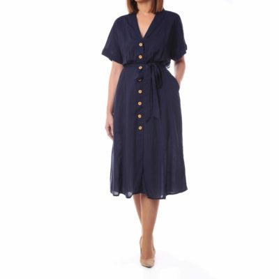 Vestido azul marino con botones efecto madera