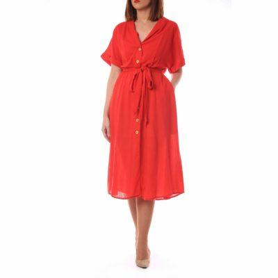 Vestido rojo con efecto raya , botonadura y lazada