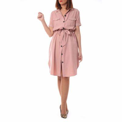 Vestido rosa corto con lazada y botonadura