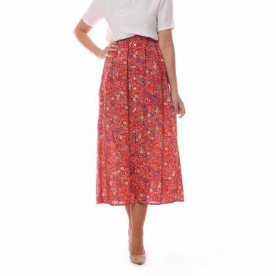 Falda midi con estampado de flores y botonadura delantera