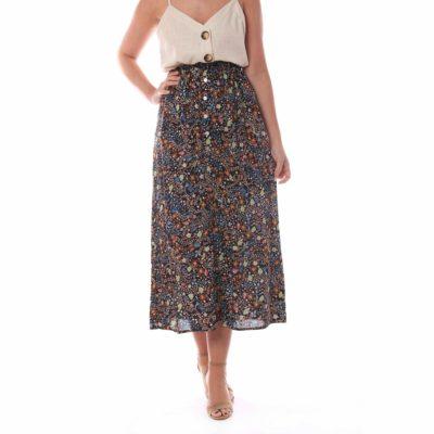Falda midi con estampado de flores y fondo negro