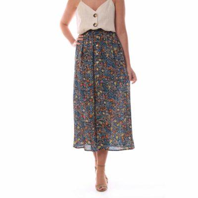 Falda midi con estampado de flores y fondo verde