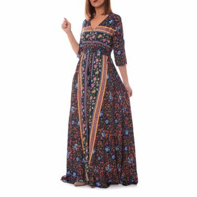 Maxi vestido con estampado mix&match marino
