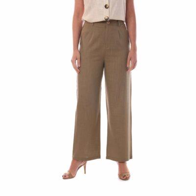 Pantalón de vestir para mujer kaki de lino