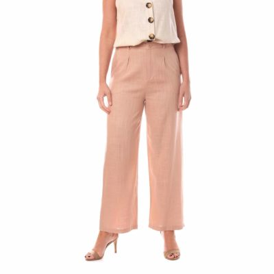 Pantalón de vestir para mujer rosa de lino