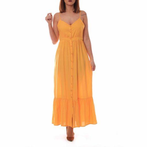 Vestido amarillo de tirantes con botonadura delantera
