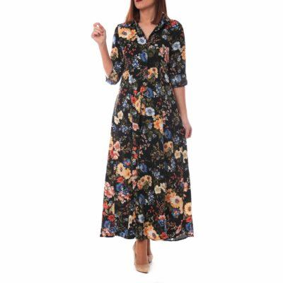 Vestido camisero negrocon estampado de flores