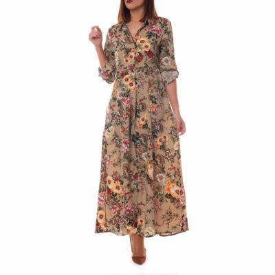 Vestido camisero con estampado de flores en color taupe