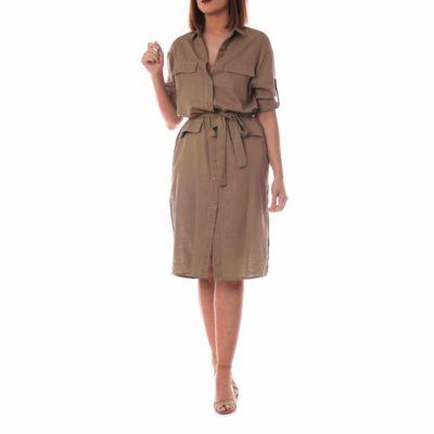 Vestido de lino kaki para mujer con lazada y botonadura delantera