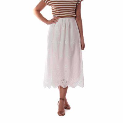 Falda midi blanca con bordados