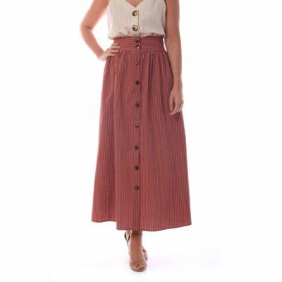 Falda larga color teja con botonadura delantera y rayas