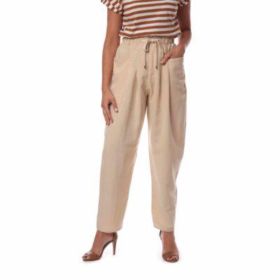 Pantalón de mujer beige de lino