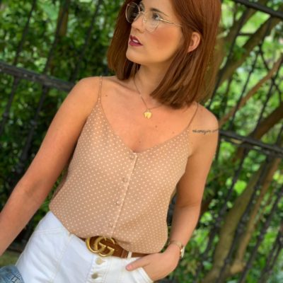Top color beige para mujer de lunares