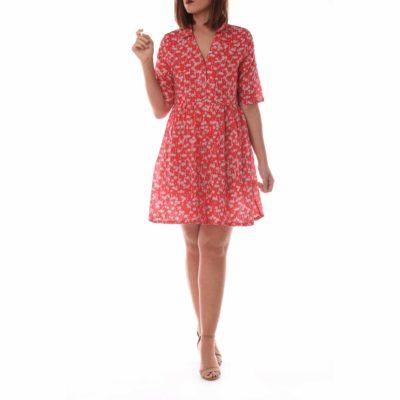 Vestido corto color rojo con estampado