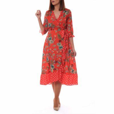 Vestido rojo con lunares y flores estilo pareo