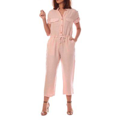 Mono de mujer rosa de lino con cordón ajustable en cintura y botonadura