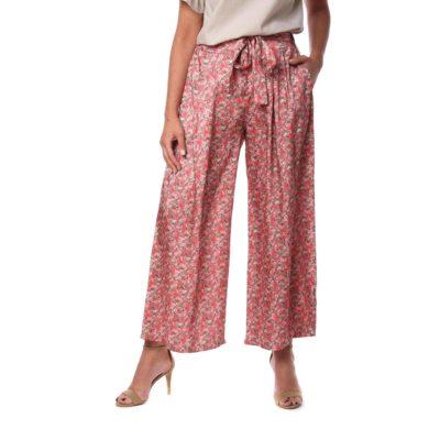 Pantalón de mujer rosa con estampado de flores y lazada en cintura