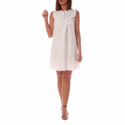 Vestido corto blanco sin mangas con detalle en pecho