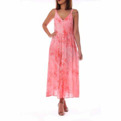 Vestido de tirantes rosa con estampado tie dye