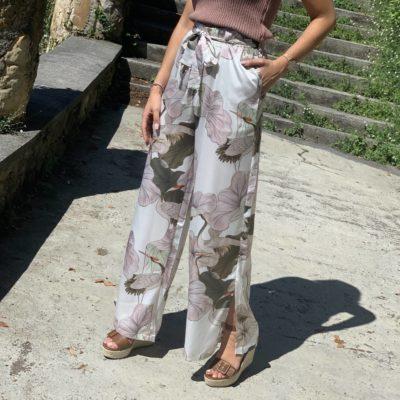 Pantalón de mujer estilo palazzo con estampado de aves