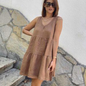 Vestido lino marrón