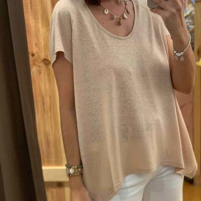 Camiseta de mujer de lino color nude
