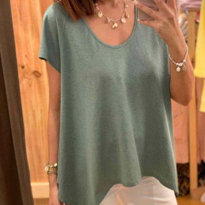 Camiseta de mujer verde de lino