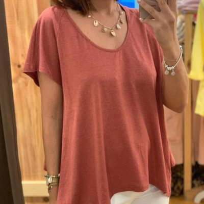 Camiseta de mujer teja