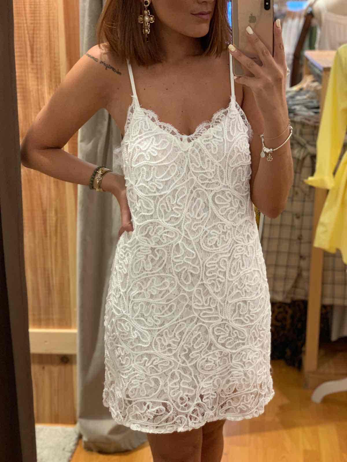 Vestido Mini Crochet Blanco