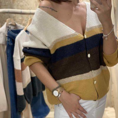 Jersey de mujer con estampado de franjas mostaza marrón y crudo
