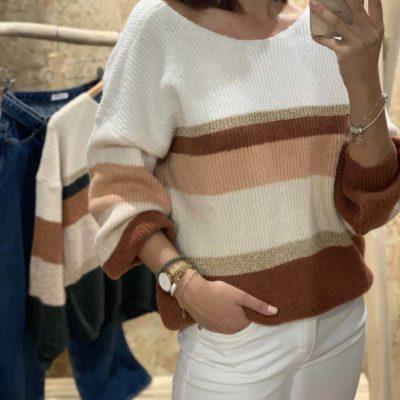 Jersey de mujer con estampado de franjas en tonos pastel