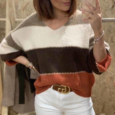 Jersey de mujer con estampado de rayas en color marrón teja y crudo